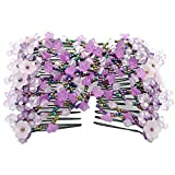 Contever Magic Bow Flower Hair Stretchy Comb Double Clips Hairpins For Women/Ladies ( Purple ) by Contever