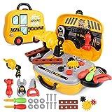 JEJA Conjuntos de Herramientas 29PCS con Carrycase Workbench Accesorios Juego de rol Juguete de Regalo para niños Niños Niños