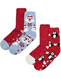 Zest Ladies 2 Pack Cosy Gripper Christmas Socks Size 4-8
