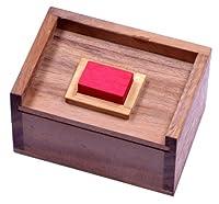 Der rote Stein - 3D Puzzle - Denkspiel - Knobelspiel - Geduldspiel im Holzkasten