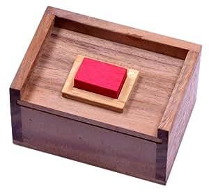 Der rote Stein – 3D Puzzle – Denkspiel – Knobelspiel – Geduldspiel im Holzkasten