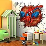 45 * 50cm heiße 3d - loch berühmter comic - film spiderman - aufkleber für kinder zimmer jungs gaben wand durch wandtattoo home decor wandgemälde