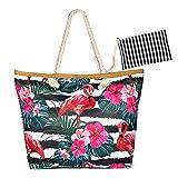 Jolintek Große Strandtasche mit Reißverschluss Schultertasche Damen Einkaufstasche Reißverschluss Beach Bag Leinwand Sommer Schwimmbad (01)