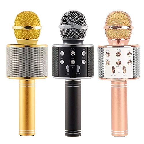VV TOYS Wireless Bluetooth Microphone Recording Condenser Handheld Microphone with Bluetooth Micgeek Q9 Speaker for All Android and iOS Devices (Multi-Colored)