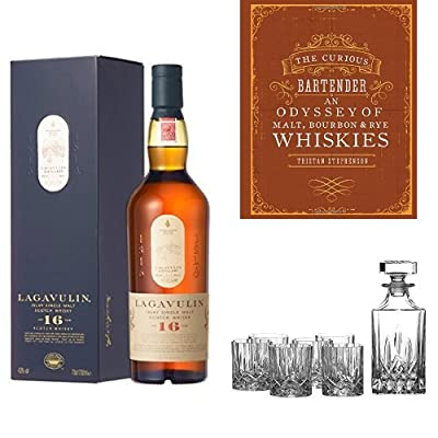 Bundle: Lagavulin 16 Year Old Whisky 70cl, The Curious Bartender: An Odyssey of Malt, Bourbon & Rye Whiskies and Royal Doulton Crystal Decanter Seasons Set of 7