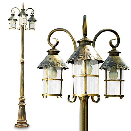 Bg Außenbereich Licht (Kandelaber Tolep mit 3 Köpfen in Braun und Gold - Sockelleuchte Garten im Vintage Stil - 3x E27-Fassung - LED-geeignet - Gartenlampe außen aus Metall mit Glas-Schirm - Sockelleuchte Garten)