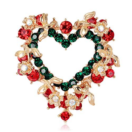 (Wanfor Weihnachten Brosche Pins Herzform Garland Schmuck Mode Frauen Geschenke Dekoration, Strass Feature)