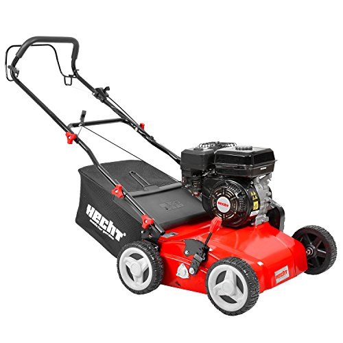 Hecht Benzin-Vertikutierer 5642 Rasen-Lüfter Motorvertikutierer (6,5 PS, 38 cm Arbeitsbreite, 6-fache zentrale Höhenverstellung, 40 Liter Fangkorb)