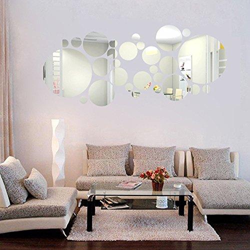 27PC DIY 3D Creativo moderno grande redondo pequeño Espejo acrílico adhesivo de pared de fondo para la decoración del hogar decoración Dormitorio Salón, plata