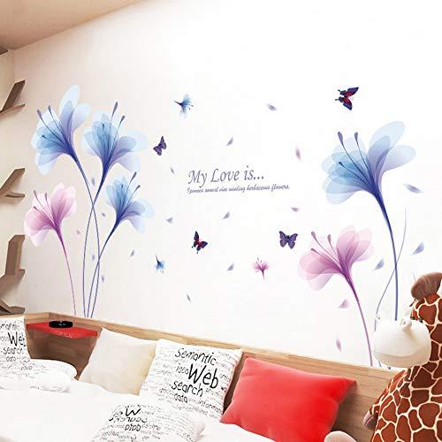 Adesivi murali fiore blu bella farfalla decalcomanie soggiorno camere da letto divano tv sfondo decalcomanie della parete della decorazione murale