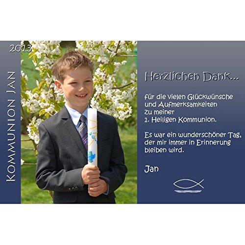 15 Individuelle Fotokarten als Danksagung, Danksagungskarte K65, Kommunion, Konfirmation, Firmung im Format 10x15 cm inkl. hochwertigem farbigen C6 Umschlag