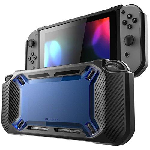 Mumba Nintendo Switch Hülle, [Rugged] Gummiert Case Harte Schutzhülle Schwerlast Cover für Nintendo Switch 2017 Ausgabe (Schwarz+Blau)