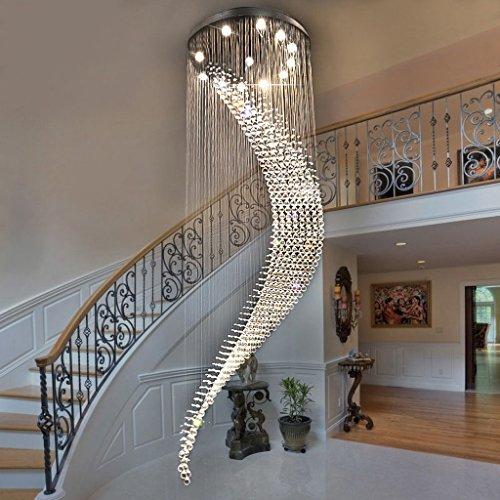 Lustre Moderne minimaliste double escalier lustre restaurant lustres en cristal villa lobby suspendus lumière Éclairage décoratifA+