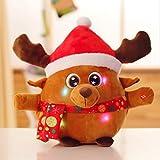 BXT Leuchtend Plüschtiere mit Singen Plüschpuppe Plüsch Weihnachtsmann Elch Weihnachtsgeschenke + Eine Kleine schwarz Beutel, 22cm