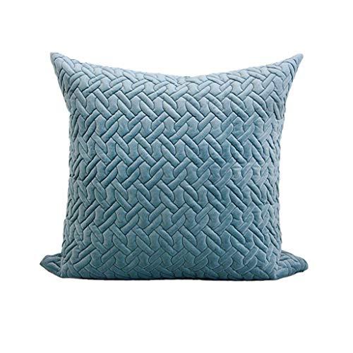 Neoklassische französische romantische Wurfkissen Sky Blue Solid Color Gesteppte Stoff geometrische Muster gewebt Platz dekorative Kissen nach Hause (größe : 50 * 50) -
