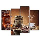 Braun 4Stück Wand Kunst Bild Kaffee Tasse Teller Bilder Prints auf Leinwand Lebensmittel die Decor Öl für Home Moderne Dekoration Print