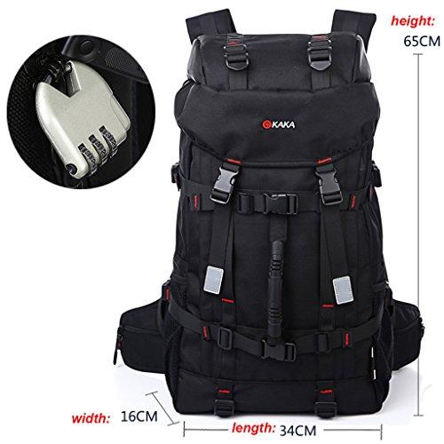 Super Moderne Herren Oxford klassischen Outdoor Wandern Rucksack Camping Tasche groß Kapazität Rucksack 55L mit einem Password Lock schwarz - schwarz