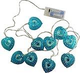 10 Warm White LED Metal Filigree Turquoise Heart Shaped Fairy Lights - Christmas Lights - Everyday Lights - Bedroom Lights