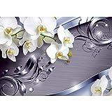 Vlies Fototapete PREMIUM PLUS Wand Foto Tapete Wand Bild Vliestapete - Ornament Orchidee Blüte Blume - no. 604, Größe:400x280cm Vlies