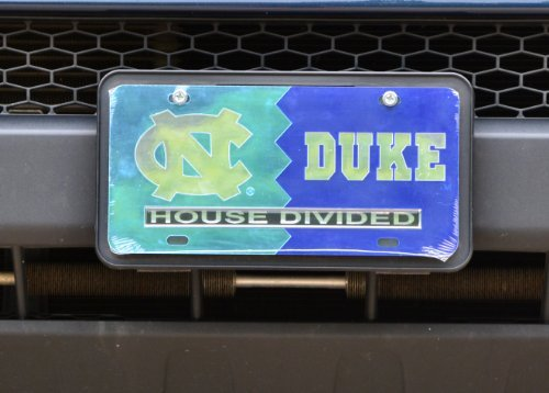 UNC/ Duke House Divided Laser Cut Car Tag by Ultimate Sports (Unc House Divided)