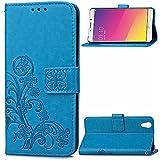 Kihying Hülle für Oppo R9 / Oppo F1 Plus Hülle Schutzhülle PU Leder Flip Wallet Fashion Geschäft HandyHülle (Blau - SD03)