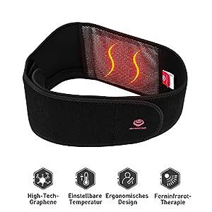 Beheizbarer Bauchweggürtel warm Fitnessgürtel Beheizter Taillengürtel atmungsaktive Temperatur Rückenbandage USB für Ferninfrarot Physiotherapie, Bauchweggürtel oder schmerzende Taille