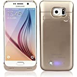 Vanda® Protectora externa Samsung Galaxy S6 G9200 Funda de Cargador Para la batería del Samsung Galaxy S6 G9200 de la batería Built-in 4200mAh,Dorado