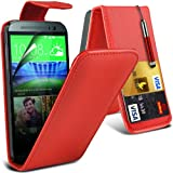 (Red) HTC One M8 Custom Designed Stilvolle Accessoires zur Auswahl Schutzmaßnahmen Kunst Credit / Debit-Karten-Leder Flip Case Hülle, Retractable Touch Screen Stylus Pen & LCD-Display Schutzfolie von Hülle Spyrox
