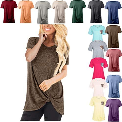 Dorical Tshirt Oberteile für Damen Frauen Kurzarm Rundhal Lose Shirt,Oversize Oberteile,Casual Tops Tee,Ladies Sommer Hemd Lässige Tunika Bluse Shirt,Strand Partykleid -
