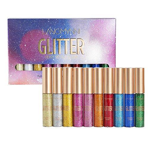 ROMANTIC BEAR Wasserfester Liquid Eyeliner Lidschatten Set, 10 Metallische Glitter-Farben...