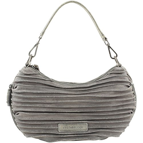 FREDsBRUDER Coco Cuir sac à bandoulière et en daim de femmes (35 x 20 x 8 cm) Grey (Gris)