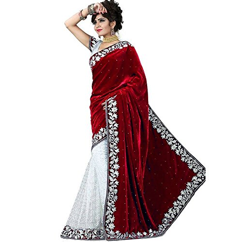 Tagline Women's Velvet & Net Saree With Blouse Piece (Tag50006, Red, Free...