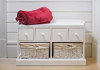White Wooden Storage + Bench With Wicker Baskets