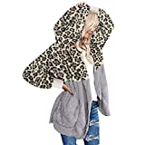 NEEKY Womens Leopard Print Hooded Cardigans Coats Long Sleeve Casual Oversized Faux Fur Fuzzy Open Front Hoodies Outerwear with Pockets(L, F#Leopard Print Khaki)