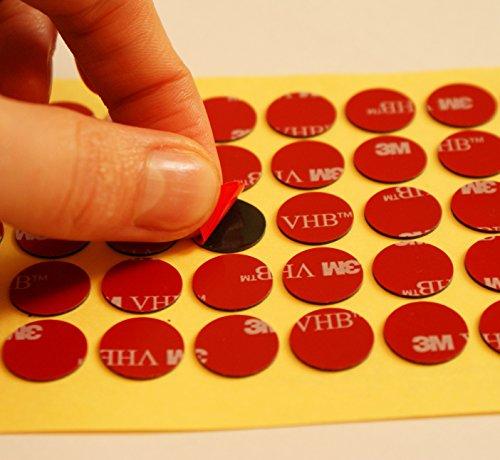 Doppelseitige Klebe-Pads von 3M, schwarz, aus Acryl-Schaum, Durchmesser ca. 14 mm, Dicke ca. 0,64 mm, Modellnummer: 5925, farblos, 20 Individual Circles -