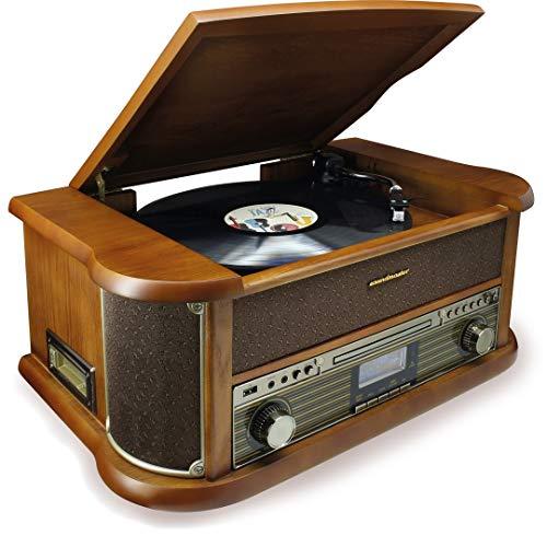 Soundmaster NR546BR Nostalgie Stereo DAB+/UKW Digitalradio mit Plattenspieler inkl Audio Technica Magnettonabnehmersystem, CD/MP3, USB, Kassette, Bluetooth und Encoding Retro (Nostalgie-plattenspieler)