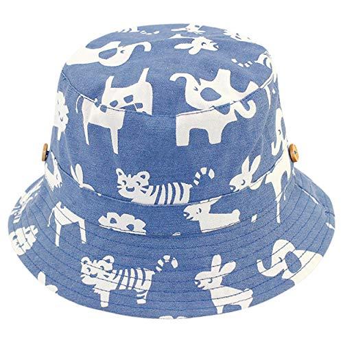 ANIMQUE Baby Kinder Sonnenhut Baumwolle Fischerhut Sommerhut UV Schutz Tiermotiv Denimblau, Kopfumfang 52cm L