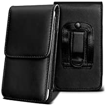 SHARP AQUOS CRYSTAL Holster Case - ( Black ) Universal Vertical Pouch Flip Belt Clip PU Leather Wallet Case Bag ( SHARP AQUOS Funda Crystal Case - ( negra ) Universal funda Vertical Flip Clip de cinturón de cuero pu Bolsa funda monedero  )