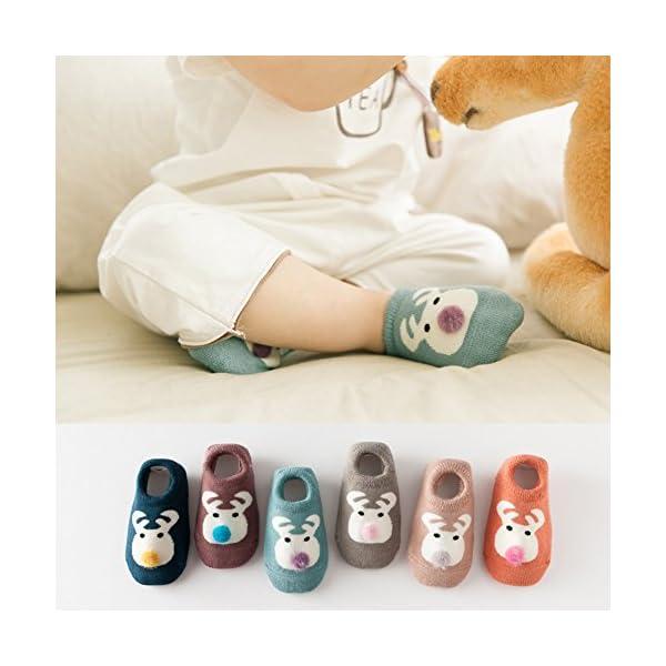 Estwell 6 Pares Calcetines Bebé Antideslizante Infantil Niños Niñas Invierno Grueso Calcetines Animados 3