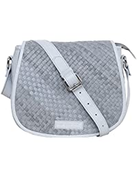 Justanned women Leather Woven grey crossbody Bag