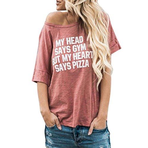 Hevoiok Damen Kurzarm Tops Casual Bluse Brief Drucken Oberteile Schulterfrei Neue Hemden Sommer Frauen Shirt Sexy (Rosa, S)