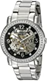 Stuhrling Original Delphi Canterbury Automatic Skeleton Swarovski Crystal Women's Automatic Watch with Black Dial Analogue Display and Silver Stainless Steel Bracelet 531L.11111