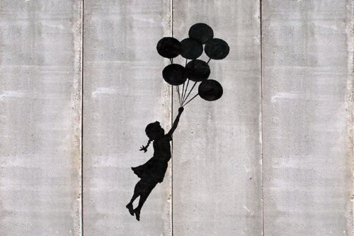 LAMINATED Banksy Gaza Balloons Girl GraffitI Mini Poster Measures 23.5' x 16.5'Inches ( 59.4 x 42 cm...