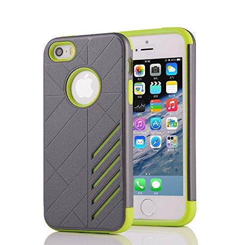 UKDANDANWEI Apple iPhone 5/5S 2 in 1 Hybrid Armor Dual-Layer Hard PC + Flexible Soft TPU Slim Case Shock-Proof Schützende Shield für Apple iPhone 5/5S - Saphir Grau /Grün