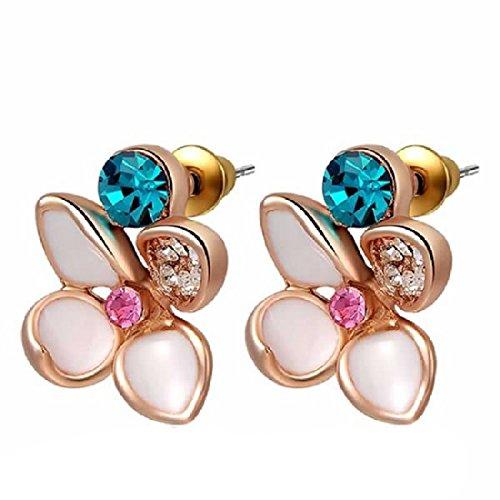 joylivecy Joyería para Mujeres pendientes bañados en oro rosa, diamante falso, Cuatro piezas, Flor