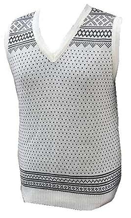 London Knitwear Gallery Christmas Fairisle Snowflake Nordic Vintage Retro Crew Tanktop White/Grey XL