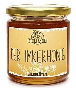 Delimel Wildblütenhonig 500g - Naturbelassener Imker-Honig (vorw. aus Christusdorn, Akazie, Klee) - Regionales Produkt aus Südbulgarien - 100% rein und natürlich, aromatisch, schmeckt fein lieblich, Natur pur direkt vom Imker