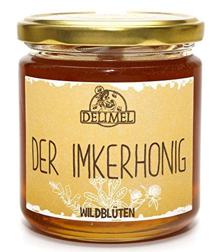 Delimel Wildblütenhonig 500g - Naturbelassener Imker-Honig (vorw. aus Christusdorn, Akazie, Klee) - Regionales Produkt aus Südbulgarien - 100% rein und natürlich, aromatisch, schmeckt fein lieblich, Natur pur direkt vom Imker (Honig Klee)