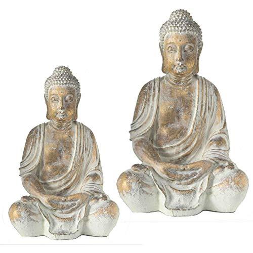 Home collection casa decorazioni accessori scultura statua coppia di buddha seduto oro anticato 31-40 cm