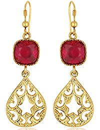 Spargz Ruby Color Synthetics Stone Gold Plating Dangle & Drop Hook Earrings For Women AIER 634